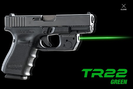 TR22G Green Laser for GLOCK 17/19/22/23/24/31/32/34/35/37/38/44/45 All Gens with Rails (will not fit 45 ACP and 10 mm models) (COPY)